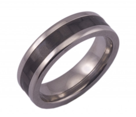 Flat Titanium Ring with Narrow Carbon Fiber Inlay