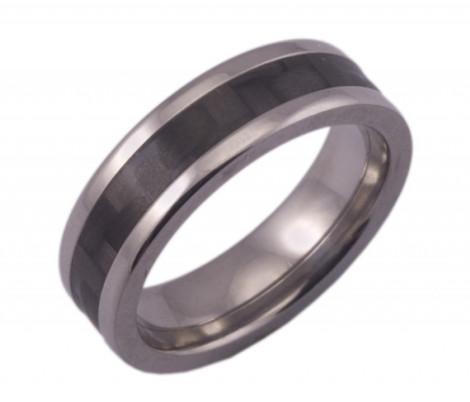Flat Titanium Ring with Narrow Carbon Fiber Inlay