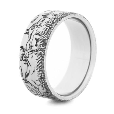 Men's Titanium Deer Family Ring