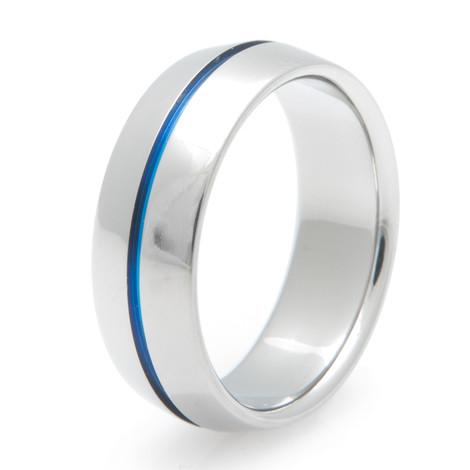 Blue Peaked Titanium Ring