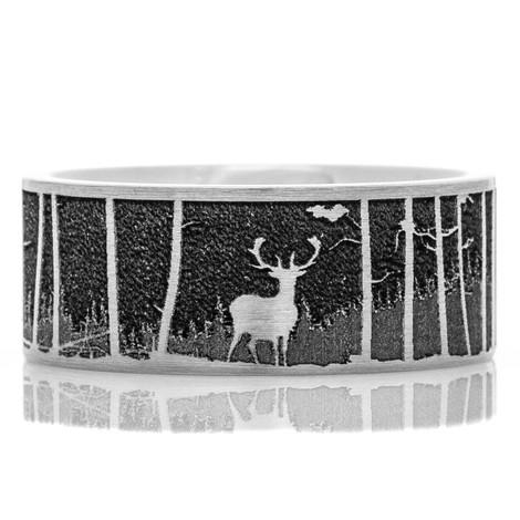Men's Laser-Carved Titanium Deer Scene Ring