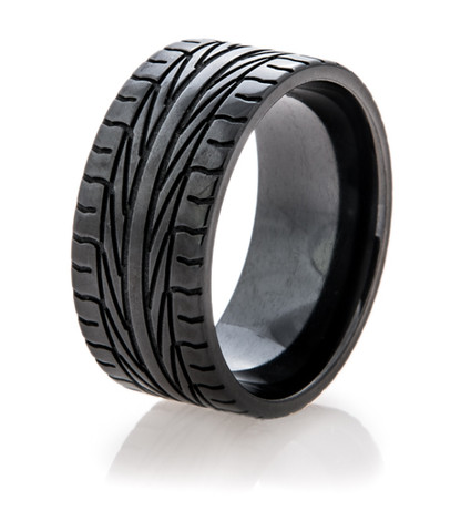 Men's Black Goodyear Assurance Tire Tread Ring