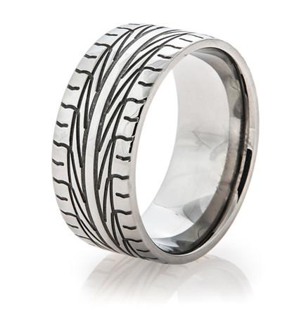 Men's Titanium Goodyear Assurance Tire Tread Ring