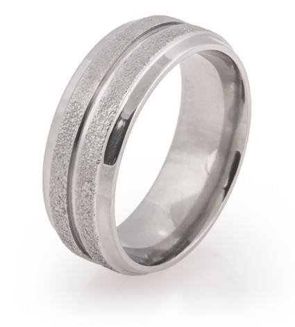 Grooved Center Arctic Titanium Ring with Polished Edges