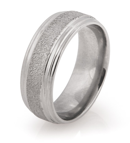 Double Groove Edge Arctic Titanium Wedding Ring