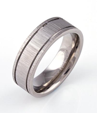 Men's Titanium Grooved Rustic Ring