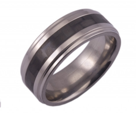 Grooved Titanium Band with 4mm Carbon Fiber