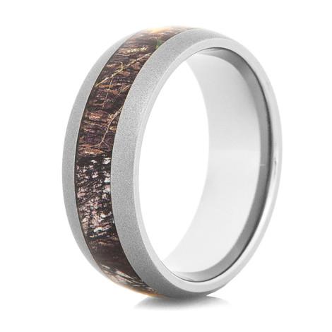 Men's Gunmetal Titanium Mossy Oak Camo Ring