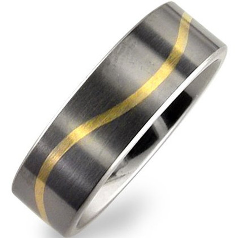 Flat Profile Titanium Wave Inlay Band
