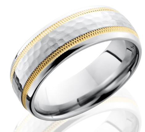 Men's Hammered Cobalt Band with Dual Milled 14K Gold Inlays