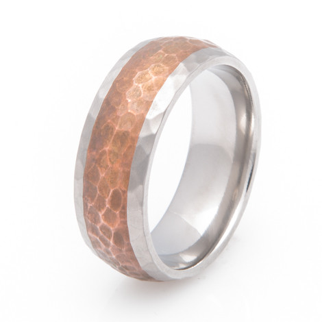 Men's Titanium Hammered Copper Inlay Band