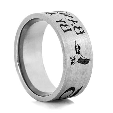 Men's Laser-Carved Titanium Rustic Flying Duck Band Ring