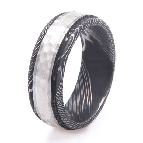 Men's Acid Finish Damascus Steel Ring with Hammered Sterling Silver