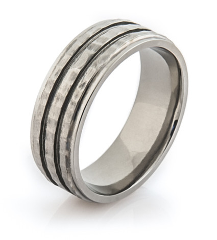 Titanium Hammered and Grooved Ring