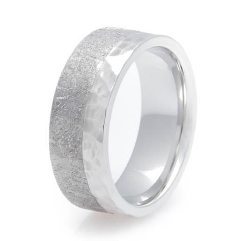 Men's Hammered Cobalt Split Gibeon Meteorite Ring