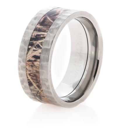 Men's Hammered Titanium Camo Ring
