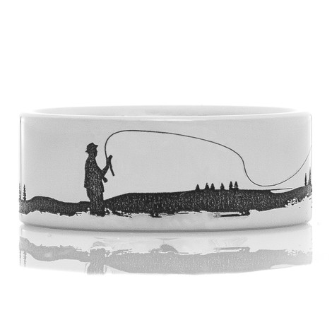 Men's Laser-Carved Titanium Fishing and Deer Hunting Wedding Ring
