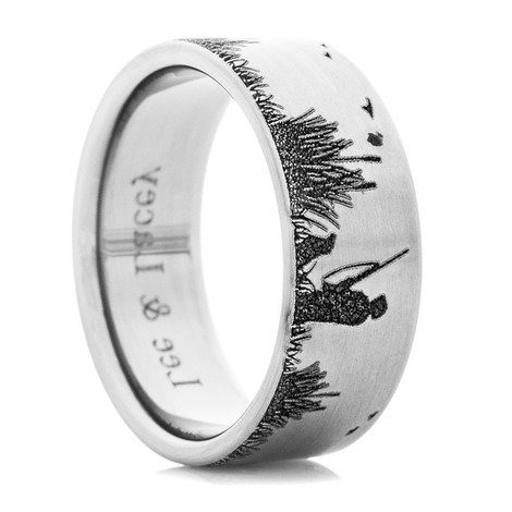 Men's Titanium Duck Hunting Scene Wedding Ring