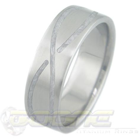Men's Titanium Gibeon Meteorite Ring with Infinity Inlay