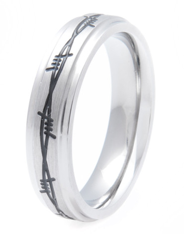 Women's Titanium Barbed Wire Band