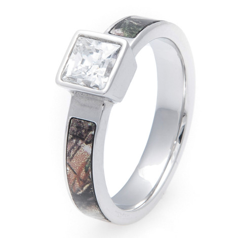 Women's Cobalt Chrome Square Diamond Camo Ring