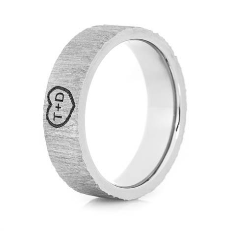 Ladies Titanium Treebark Carved Heart Ring
