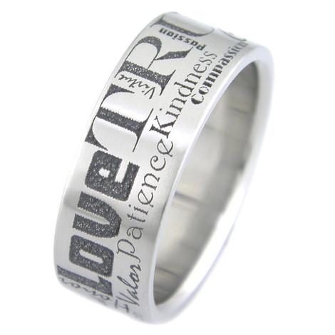 Titanium Laser Etched Loving Words Ring