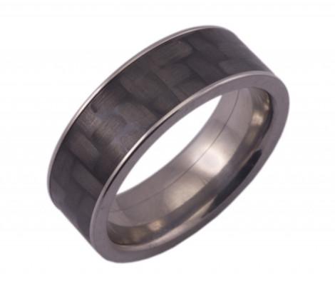 Flat Titanium Ring with 5mm Carbon Fiber inlay