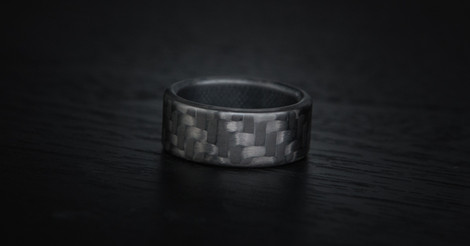 Men's Matte Finish Black Carbon Fiber Ring