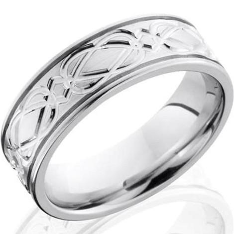 Men's Grooved Edge Complex Celtic Design Cobalt Chrome Ring