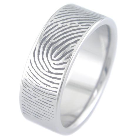 Men's Titanium Fingerprint Wedding Ring