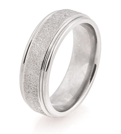 Flat Profile Arctic Titanium Wedding Band with Rounded Edges