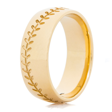 Men's 14K Gold Baseball Wedding Band