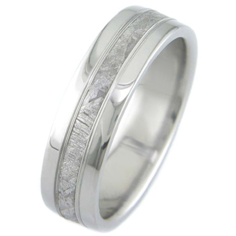 Men's Polished Titanium Accent Gibeon Meteorite Ring