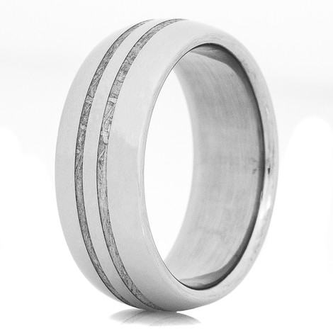 Men's Titanium Dual Inlay Gibeon Meteorite Ring