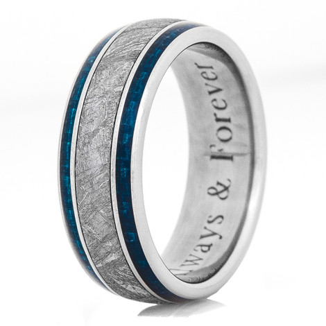 Men's Blue Carbon Fiber and Titanium Gibeon Meteorite Ring