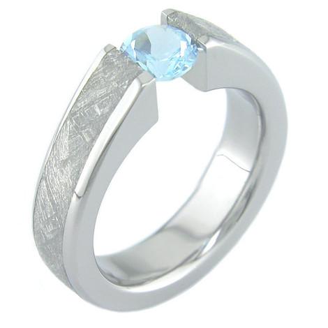 Women's Titanium Venus Tension Set Meteorite Engagement Ring