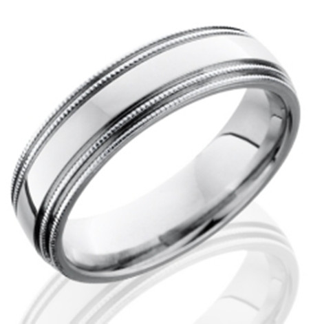 Men's Dual Milled Grooved Edge Cobalt Chrome Wedding Band