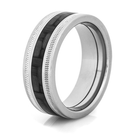 Milled Edge Titanium Carbon Fiber Ring