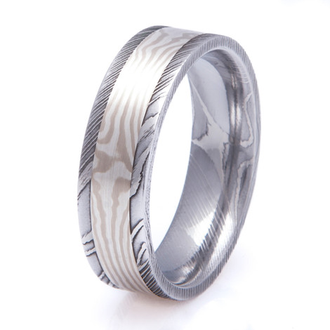 Men's Satin Finish Damascus Steel Ring with Wide Mokume Gane Inlay
