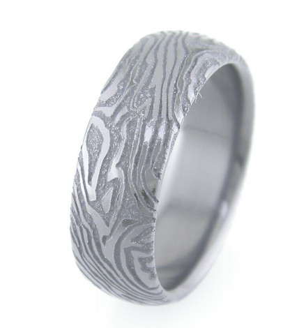 Mokume-Style Laser Engraved Black Zirconium Ring