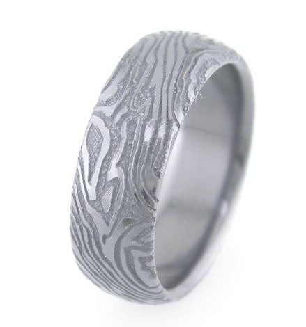 Mokume-Style Laser Engraved Black Zirconium Ring