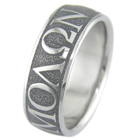 Men's Titanium Molon Labe Wedding Ring