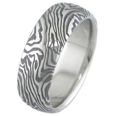 Mokume-Style Laser Engraved Titanium Ring