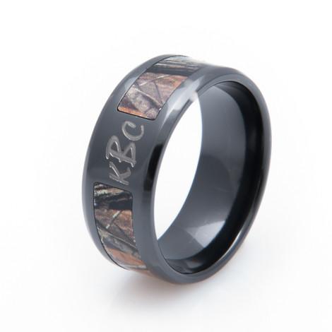 Men's Black Zirconium Monogrammed Camo Ring
