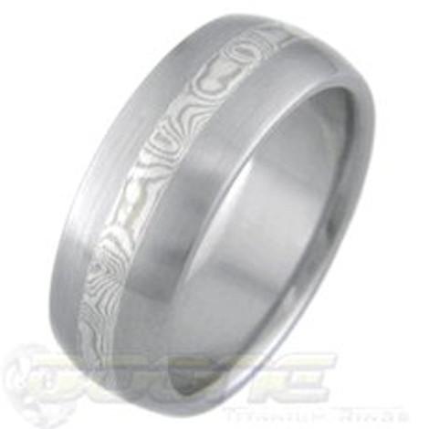 White Gold and Silver Mokume Gane Ring