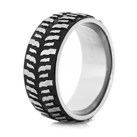 Men's Black Titanium Mud Bogger Ring