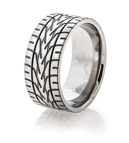 Men's Titanium Goodyear® NASCAR Rain Tire Tread Ring