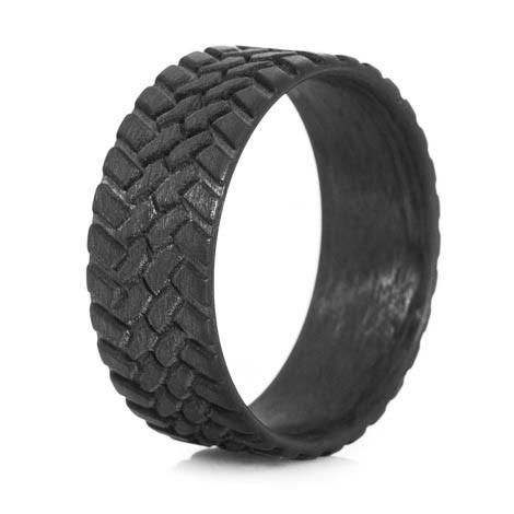 Men's Carbon Fiber Off-Road Tread Wedding Ring