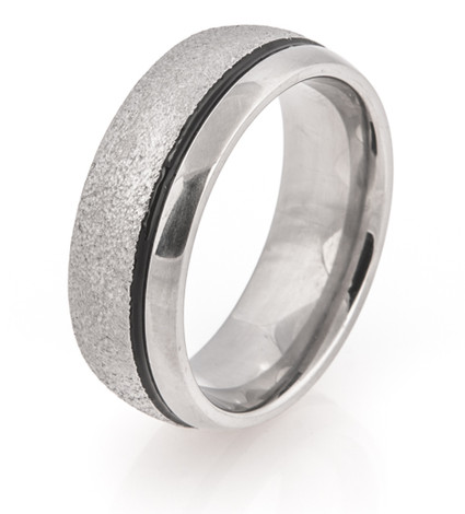 Offset Black Groove Arctic Titanium Ring